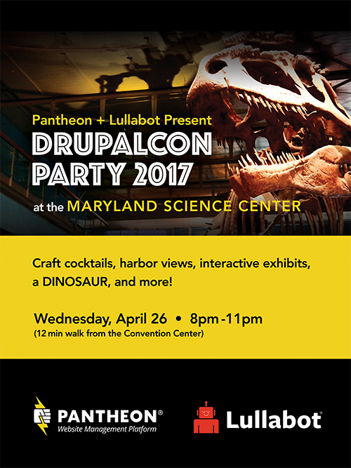 Poster for the Pantheon + Lullabot party, head of the T-Rex fossils and the logo of both companies